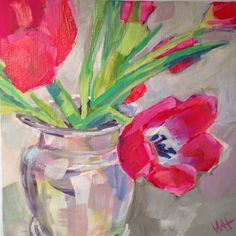 """Daily Paintworks - Daily Painting Red Tulips"""" - Original Fine Art for Sale - © Whitney Heavey Daily Painters, Red Tulips, Slice Of Life, Fine Art Gallery, Art For Sale, Art Lessons, Flower Art, Art Work, Flowers"""
