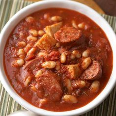 This savory soup recipe includes chicken, pasta sauce, turkey sausage, and kidney beans for a high-fiber meal that will keep you warm! Add this quick and easy meal to your recipe box. It makes a delicious, healthy dinner!