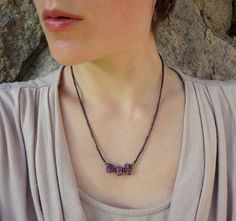Rough Ruby Necklace July birthstone necklace by ArtifactsEtCetera