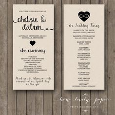 Printable Wedding Program the Ella Collection by HowLovelyPaper