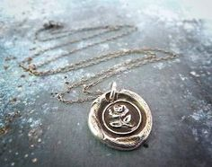 Silver Rose Wax Seal Pendant Necklace by RenataandJonathan on Etsy