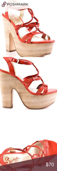 Seychelles Chunky Coral Sandals Create your moment in this Seychelles sandal. Heat Of The Moment features a bright orange (almost Coral) leather upper multiple straps brought together at the vamp. A stacked 5 1/2 inch chunky and 2 inch platform gives this style a retro vibe. New without tag. Has a little discoloration in the front shown in last photo, leather is a little soft on edges in back.   Shoe Details:  Leather Upper Man Made Sole Made In China This Shoe Fits True to Size. #5041721…