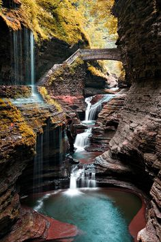 Watkins Glen State Park, New York. Within two miles, the glen's stream descends 400 feet past 200-foot cliffs, generating 19 waterfalls along its course.