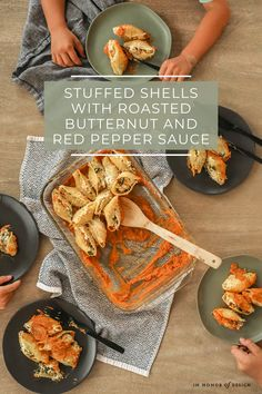Stuffed Shells with Roasted Butternut and Red Pepper Sauce Recipe