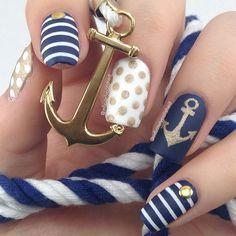 Matte navy and gold anchor nail art. infinitelypolished #nail #nails #nailart