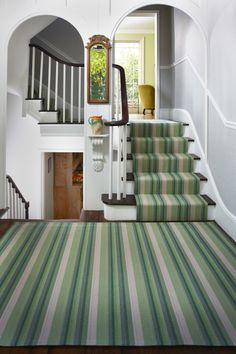 Ruthless stair runner carpet diy stairways strategies exploited luxury roger oates design green stair runner and rug green carpet - Savvy Ways About Things Can Teach Us Stair Runner Carpet, Striped Carpets, Stairs, Carpet, Diy Carpet, Bedroom Carpet Colors, Bedroom Carpet, Stairways, Home Decor