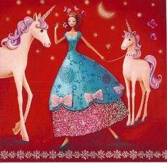 Postkarte 14x14cm Mila Marquis ~ Frau mit Einhörnern