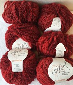 6 pc LOT Garn Grobhandel COLORADO RED Yarn Skein Italy Acrylic New Wool BULKY #GarnGrobhandelHamburg #Slub