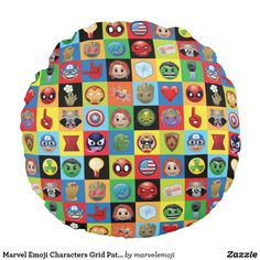 Shop Marvel Emoji Characters Grid Pattern Round Pillow created by marvelemoji. Emoji Characters, Comic Book Characters, Emoji Design, Rocket Raccoon, Big Design, Marvel, Round Pillow, Soft Pillows, Black Widow