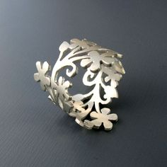 Enchanted Floral Branch Silver Ring - Made to Order
