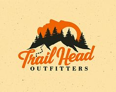 Trail Head Outfitters Shirt Logo Design, Badge Design, Graphic Design Tools, Graphic Design Typography, Typography Inspiration, Graphic Design Inspiration, Design Ideas, Goat Logo, Outdoor Logos