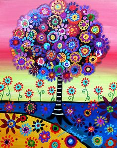 Tree Painting - Tree Of Life by Pristine Cartera Turkus Tree Of Life Painting by Pristine Cartera Turkus Tree Of Life Painting, Tree Of Life Artwork, Artwork Wall, Art Fantaisiste, Mexican Folk Art, Naive Art, Whimsical Art, Oeuvre D'art, Cool Art