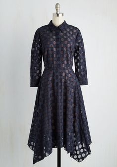 Dots and Ideas Dress. One glimpse at this navy blue shirt dress and youll be sent in a tizzy imagining all the places it can be worn! #black #modcloth