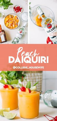 This Peach Daiquiri is frothy, fresh and frozen thanks to year-round frozen peaches, a generous amount of fresh lime juice, sweet white rum and Cointreau that really turns it into a party. It's an exceptionally easy frozen cocktail recipe made at home that celebrates the bounty of the summer - or any time of year - season! #daiquiri #cocktail #summer Refreshing Summer Cocktails, Frozen Cocktails, Fun Cocktails, Spring Cocktails, Peach Rum, Peach Daiquiri, Daiquiri Cocktail, Cocktail Drinks, Rum Cocktail Recipes