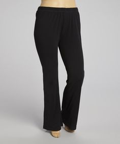 Take a look at this Black Yoga Pants - Plus by TROO on #zulily today!