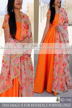 Color: Orange Fabrics: Top : Heavy Tapeta Silk Bottom : NA Dupatta : Georgette Inner :- Santoon Stitch Type: Semi-SttichedTop Length: Upto 55 inches Indian Designer Outfits, Designer Gowns, Designer Anarkali, Simple Gown Design, Gown Party Wear, Anarkali Dress, Saree Gown, Anarkali Suits, Simple Gowns