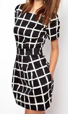 Scoop Neck Short Sleeve Striped Slimming Simple Design Women's Dress