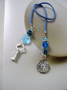 Elegant Beaded bookmark, Gift for women, Blue leather thong bookmark, Light blue glass beads with two silver charms including key and clock Wire Bookmarks, Bookmark Craft, Leather Gifts, Handmade Leather, Custom Leather, Leather Jewelry, Leather Bags, Leather Cord, Leather Bookmark