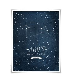 Personalized Zodiac Constellation print - 8.5 x 11 - Twelve Astrological signs available. $30.00, via Etsy.