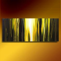 """""""Old Gold"""" 60"""" Abstract Art Deco Trees Original painting acrylic triptych 3 canvases"""