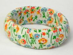 Delicate Floral Vintage Fabric Bangle by MountainLightJewelry, $18.00