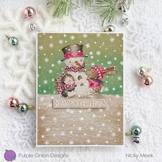 Nicky Noo Cards: Sweet Snow Friends - Purple Onion Designs Large Stencils, Snowman Cards, Masculine Birthday Cards, Handmade Stamps, White Gel Pen, Copics, Gel Pens, Blue Bird