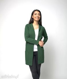 Kardigan Narzutka Z Kieszeniami Malachit L-Xl Duster Coat, Blazer, Jackets, Etsy, Clothes, Vintage, Women, Fashion, Malachite