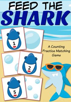 Have a little one obsessed with sharks? This printable counting practice matching game is a great way to practice those early math skills with your toddler or preschooler and is absolutely perfect for the hot summer months! Preschool At Home, Preschool Printables, Preschool Lessons, Preschool Learning, Preschool Activities, Teaching, Shark Activities, Toddler Activities, Toddler Counting