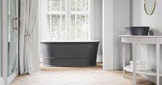The Nerina is a compact and deep freestanding bathtub with a classic design and modern flair. Looks great in farmhouse chic designs. Modern Bathtub, Freestanding Bathtub, Grey Exterior, Kitchen And Bath Design, Design Blog, Bath Tub, Farmhouse Chic, Small Bathroom, Bathroom Ideas