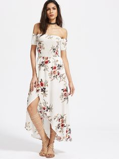 Shop White Florals Off The Shoulder Shirred Wrap Dress online. SheIn offers White Florals Off The Shoulder Shirred Wrap Dress & more to fit your fashionable needs.