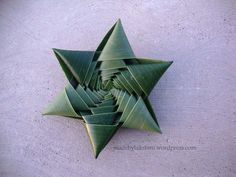 Step by step video tutorial to make star from coconut leaf!would be great mixed with exotic flowers as aisle or table decoration at a mexican or ethnic wedding or party Flax Weaving, Weaving Art, Basket Weaving, Tree Leaves, Plant Leaves, Origami, Coconut Leaves, Paper Quilling Designs, Quilling Ideas