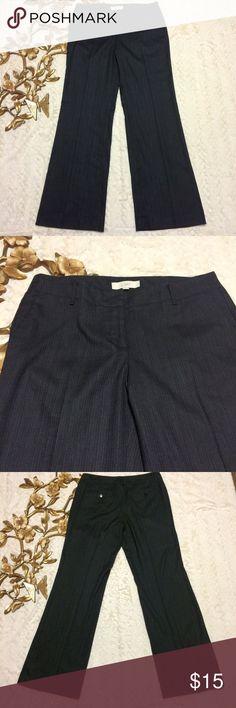 "Loft Trousers in Marisa Fit with 31"" inseam Loft Trousers in Marisa Fit with 31"" inseam pinstripe print measurements taken laying flat: 11"" leg opening 17"" waist LOFT Pants Straight Leg"