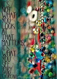 See the beauty. It's not what you look at that matters, it's what you see. HDT