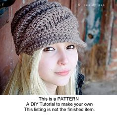 Knitting Pattern - Knit Hat Knitting Pattern - Knit Hat Pattern for The Swirl Beanie Hat With and Without Visor. $5.00, via Etsy.