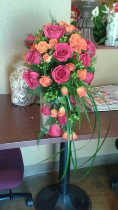 Cascade of hot pink, orange and lime green