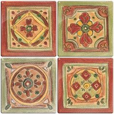 Smart Tiles 3-11/16 in. x 3-11/16 in. Multi-Colored Peel and Stick New Mexico Motif Decorative Wall Tile (4-Pack)