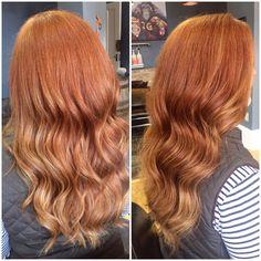 Stunning natural looking red hair with golden balayage ...  Stunning natura...