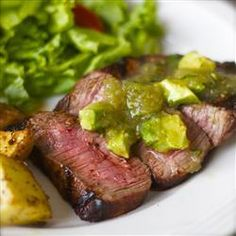 Cumin-Rubbed Steaks with Avocado Salsa Verde, photo by LilSnoo