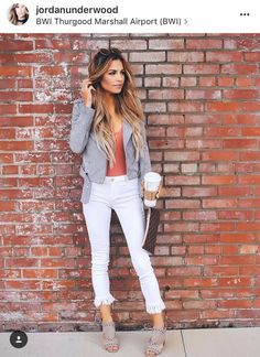 cute spring outfit with fringed pants
