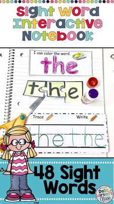 A sight word interactive notebook to increase reading fluency of sight words. A fun hands on activity for kindergarten reading block. Increase reading fluency for your struggling readers, ELL's and special needs students. This resource works great with homeschool families. This no prep printable is fun for the kids to color, cut and paste.  Makes a great portfolio for parents. This is a complete set of 48 sight words, including DIBLES. Great product to use during  guided reading groups.