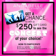 |CONTEST| Enter for a chance to WIN a $250 gift card to go see the concert of your choice! 2 BIG winners each week + 10 secondary prizes of one (1) makeup bag filled with Annabelle products per week. Fill out the form to enter > bit.ly/1RDZq3K #ABColourPower Fill, Promotion, Abs, Cosmetics, Concert, Makeup, Gifts, Products, Maquillaje