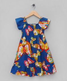 $16. Take a look at this Royal Blue Butterfly Cap-Sleeve Dress - Toddler & Girls by Sweet Elegance on #zulily today!