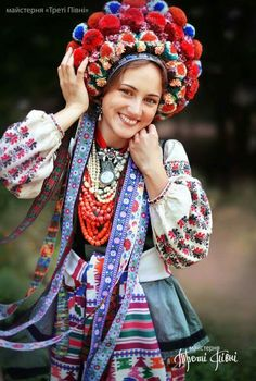 Ukrainian traditional embroidered folk costume. Poltava