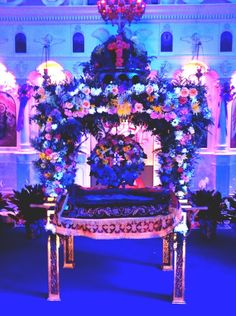 Photo of the Epitahion from Orthodox Good Friday Afternoon Services, My Greek Orthodox church has blue glass windows which creates an amazing lighting effect. Orthodox Easter, Greek Easter, Good Friday, Purple, Blue, Calendar, Windows, Events, Lighting