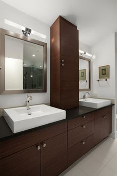Double Sink Design Ideas, Pictures, Remodel, and Decor - page 59. Cabinet between sinks.