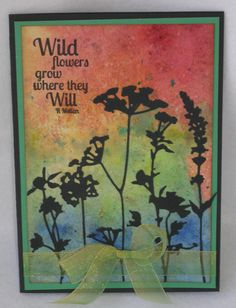 Theresa Petermann: May card pal cards. I made this one with a bruho background, Tim Holtz wildflower diecuts and a Paper Artsy sentiment. #brusho #timholtz #paperartsy