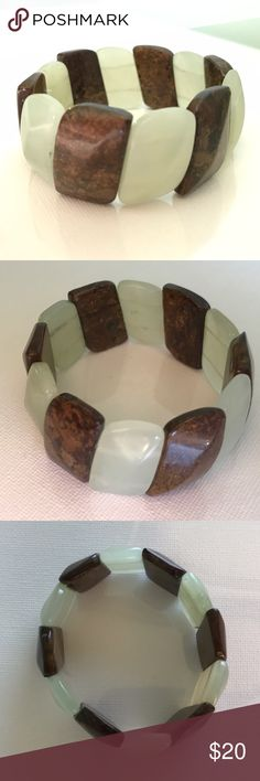 Faux Stone Stretchy Bracelet Faux jade and tigers eye bracelet. Excellent condition. Jewelry Bracelets