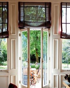 wonderful French doors, windows, and sheer Roman shades Modern Curtains, Curtains With Blinds, Roman Blinds, Sheer Blinds, Window Blinds, Valances, Sheer Curtains, Window Coverings, Window Treatments