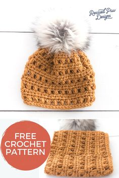 Fur Pom Hat to Crochet - Free Crochet Pattern from Rescued Paw Designs + Crochet Pom Hat Make this easy crochet beanie pattern with a fur pom pom on top! You'll love how easy it is crochet this faux fur pom pom crochet hat! Easy Crochet Hat Patterns, Crochet Mittens Pattern, Crochet Designs, Crochet Stitches, Crochet Ideas, Stitch Patterns, Knitting Patterns, Crochet Beanie Hat, Chunky Crochet Hat