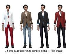 City Living Blazer Shirt Sweater Top (UPDATED) at Julietoon – Julie J • Sims 4 Updates